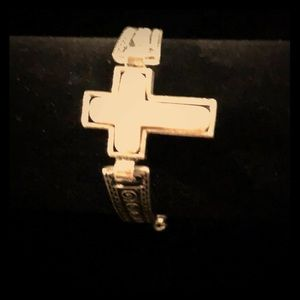 Silver and white stone cross bracelet